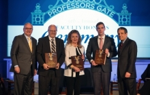 GW President Thomas Leblanc stands with WID award winners Murray Snyder, Jocelyne Brant, & Joshua Benson as they display awards