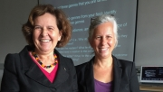 UWP Professor Rachel Riedner and her research partner Maria Jose Gonzolez smile after workshop