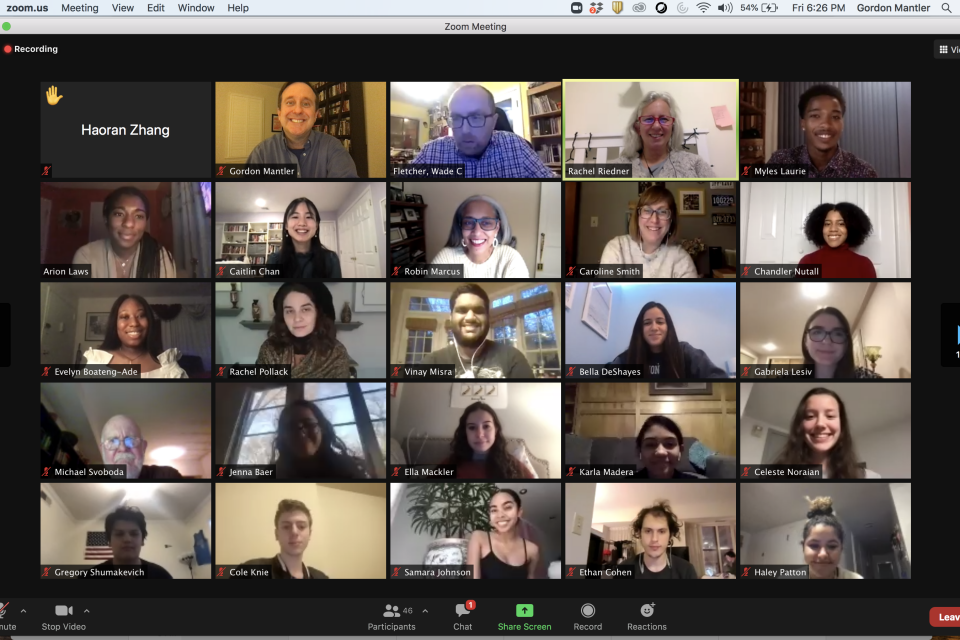 A screen capture of the Zoom screen during the alumni roundtable showing various faculty and former UWP students.