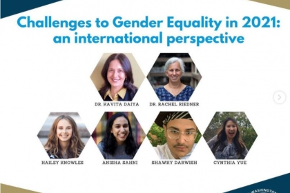 Challenges to Gender Equality virtual panel flyer showing participating speakers including UWP's Rachel Riedner